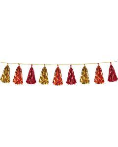 Beistle Shimmering Metallic Party Decorative 8' Tassel Garland, Gold Red Orange