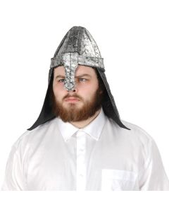 Beistle Medieval Black Knight Fabric Costume Hat, Silver, One-Size