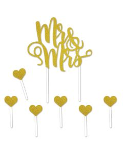 "Beistle Mr. & Mrs. Cake Topper 5""x8.75"" Cake Topper Set, Gold"