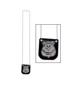 "Beistle Metal Police Halloween Costume Badge on 38"" Chain Necklace, 3"" Badge"