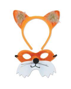 Beistle Fox Ears Headband & Mask 2pc Costume Accessory Kit, Orange White