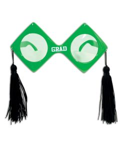 Beistle Graduation Fancy Frame Grad Glasses w Tassels 6.5'' Sunglasses, Green