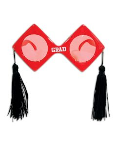 Beistle Graduation Fancy Frame Grad Glasses w Tassels 6.5'' Sunglasses, Red