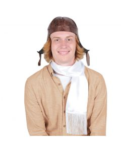 Beistle Aviator Hat & Scarf 2pc Costume Accessory Set, White Brown, One-Size