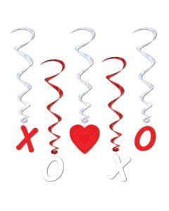 "Beistle Valentine XOXO and Heart Glossy 5pc 38"" Hanging Whirls, Red White"