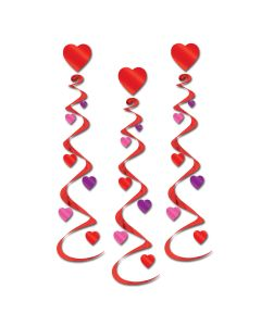 """Beistle Valentines Day Party Hearts 30"""" Hanging Whirls, Red Pink Purple, 3 Pack"""