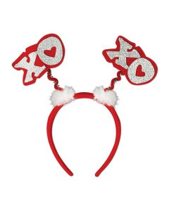 """Beistle Valentine's XOXO Headband Boppers, Red White Silver, 9.5"""""""