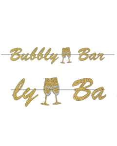Beistle Bubbly Bar Streamer Party 5ft Hanging Decoration, Gold