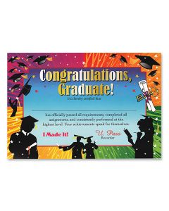 "Congratulations Graduate School Gift 5""x7"" Graduation Certificate, 6 Pack"