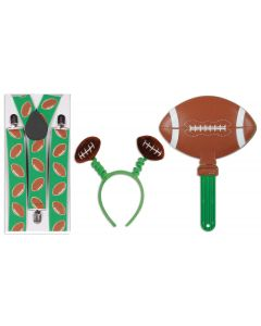 Super Bowl Obnoxious Football Fan 3pc Party Pack, Green Brown White