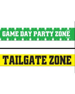 Gameday Tailgate Zone Football Decoration 2pc Party Tape, Green Yellow White