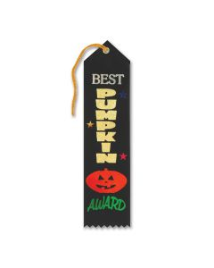 Halloween Party Best Pumpkin Jack O Lantern 8''x2'' Award Ribbon, Black Multi