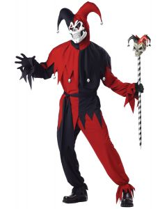 Evil Jester Halloween 5pc Adult Costume, Black Red, Medium 40-42