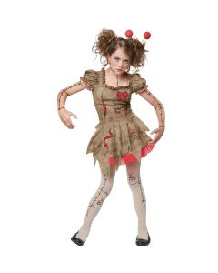 Tween Halloween Voodoo Dolly Character 4pc Tween Costume, Tan Red