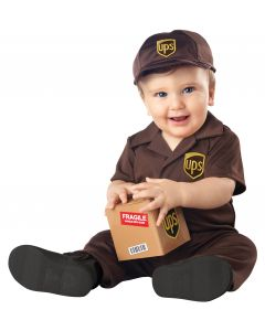 UPS Delivery Man Working Baby 4pc Infant Costume, Brown, Large 18-24mo