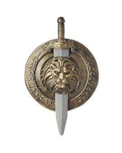 "Halloween Gladiator Combat War 2pc Sword & Shield Set, Gold Silver, One-Size 19"""