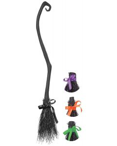 California Costumes Halloween Witch Broom with Colored Ribbons, Black
