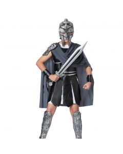 Silver Gladiator Mask & Sword 2pc Boy Costume Accessory Set, Silver, One-Size