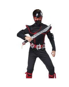 Stealth Ninja Mask & Sword 2pc Boy Costume Accessory Set, Black Silver, One-Size