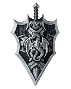 """Dragon Lord Shield & Sword 2pc Costume Weapon Accessory Set, Grey Black, One-Size 21"""""""