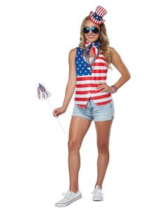 Patriotic Lady July 4th Party Kit 3pc Women Costume, White Red Blue, S/M 6-10