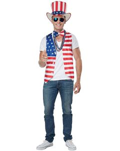 Patriot Man July 4th Party Kit 3pc Men Costume, Red White Blue, S/M 38-42