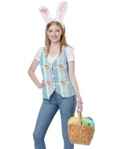 Easter Vest & Bunny Ear Kit 2pc Women Costume, Small/Medium 6-10