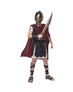 Bronze Spartan Mask & Sword 2pc Boy Costume Accessory Set, Gold, One-Size
