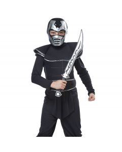 Steel Viper Ninja Mask Sword 2pc Boy Costume Accessory Set, Silver Black, O-S