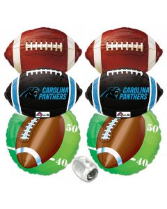 Carolina Panthers Playoffs Super Bowl Football Mylar Foil Balloons 7pc