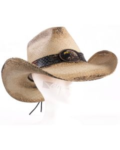 Panama Straw American Eagle Patriot Pinch Front Cowboy Hat, Natural, Medium 7