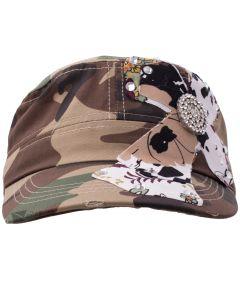 Kallina Women's Cross Sigil Military Style Cadet Hat, One-Size 7, Camo Tan