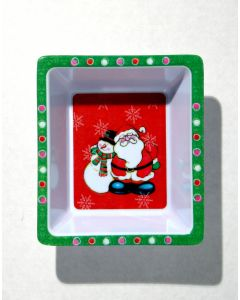 Chef Craft Festive Christmas Santa Snowman 6in Decorative Bowl, Red White Green
