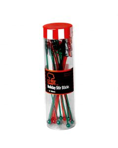 "Holiday Christmas Tree Plastic 12pc 7"" Cocktail Drink Stirrers, Red Green"