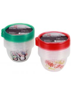 Holiday Candy Christmas Round 5' Storage Container Set, Red White, 6 Pack