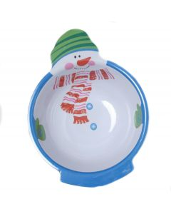 "Chef Craft Snowman with Hat Christmas Party 11"" Serving Bowl, White Blue"