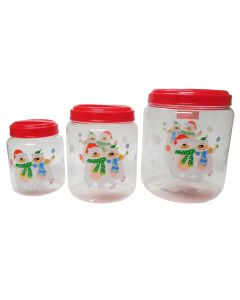 """Polar Bear Screw On 3pc Christmas Storage Container Set, 5.5""""-8.5"""", Clear Red"""