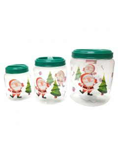 """Santa Claus Screw On 3pc Christmas Storage Container Set, 5.5""""-8.5"""", Clear Green"""