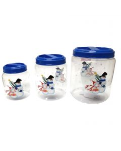 """Snowman Screw On 3pc Christmas Storage Container Set, 5.5""""-8.5"""", Clear Blue"""