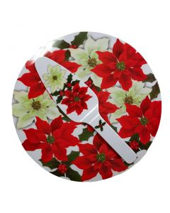 "Poinsettia Christmas Cakeplate Serving Tray & Spatula Gift Set, 12"", White Red"
