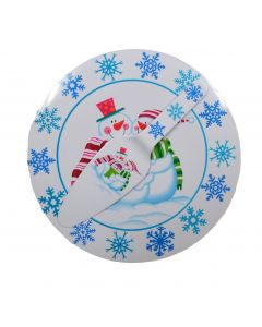 "Snowman Cakeplate 2pc Christmas Serving Tray & Spatula Gift Set, 12"", White Blue"
