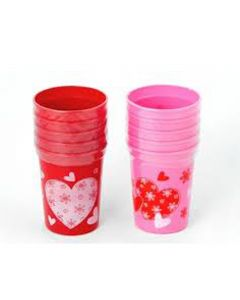 Chef Craft Valentines Day Cups Plastic Cups, Pink Red, 10 Pack