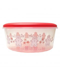 """Large Festive Christmas Gingerbread Man 11"""" 5qt Storage Container, Red"""