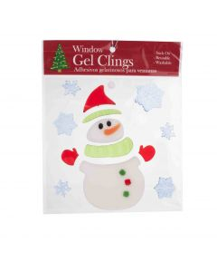 "Snowman with Santa Hat and Snowflakes 1""-6"" Window Clings, White Blue Green"