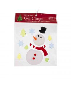 "Snowman with Top Hat and Mini Trees 1""-6"" Window Clings, White Green Red"