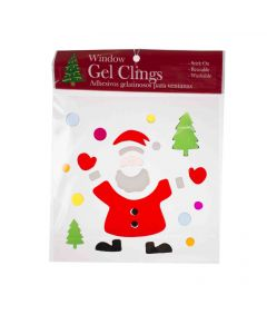 "Transparent Santa with Ornaments 1""-6"" Window Clings, Red White Green"