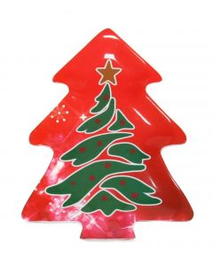 "Modern Christmas Tree Shaped Tree Design 12.5"" Serving Platter, Red Green"