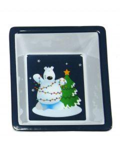 """Square Tree & Polar Bear Christmas Dish, 6"""" Serving Bowl, Blue White"""