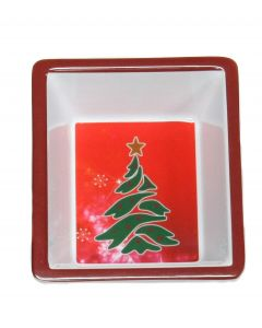 "Square Christmas Tree Holiday Dish, 6"" Serving Bowl, Red Green White"