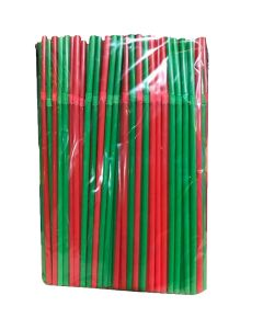 "Chef Craft Christmas Holiday Flexible Bendy 100pc 8.5"" Plastic Straws, Red Green"